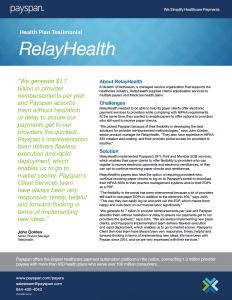 """Payspan's Flexible EFT Services """"Phenomenal"""" for RelayHealth"""